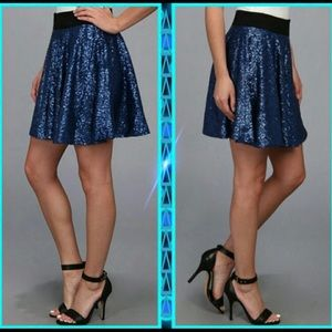 MINKPINK Blue Sequin Fit and Flare Skirt